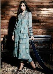 Reception Wear Green Georgette Heavy Embroidery Work Straight Suit