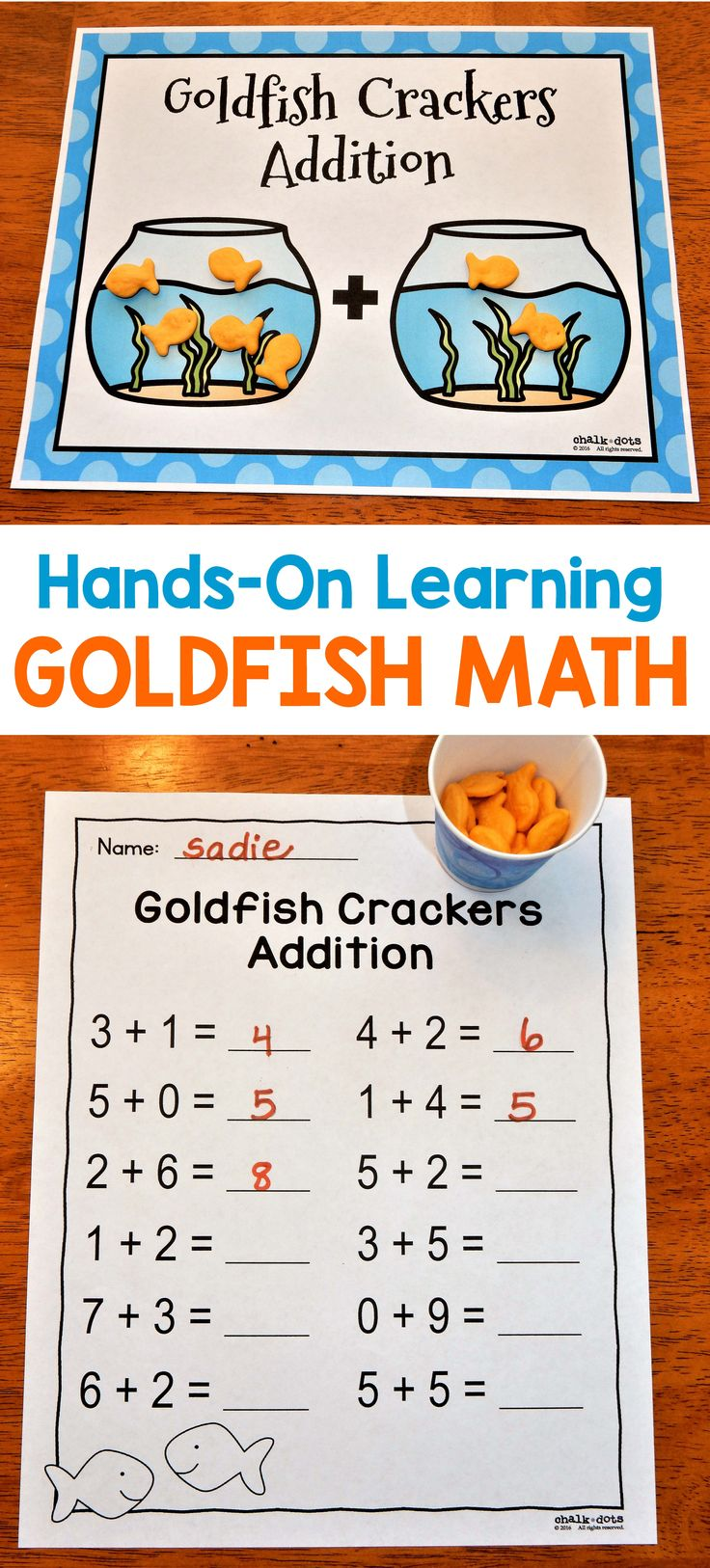 """Make math enjoyable for your students and help them visualize the problems with this fun """"Goldfish Math"""" packet! This is a great resource to help children practice both counting and adding to ten. I have included a variety of activities so you can pick the ones that best fit your students' needs."""