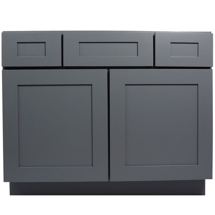 42 Inch Bathroom Vanity Single Sink Cabinet in Shaker Gray with Soft Close Drawers