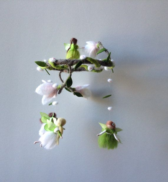 Fairy mobile needle felted waldorf small fairies por lovebluecats