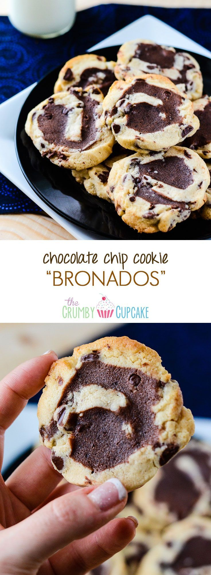 Chocolate Chip Cookie Bronados | A sturdy, cut-out style chocolate chip cookie, filled with brownie batter, rolled, sliced, and baked to brookie-like perfection. #brookie #brownie #cookie #chocolate #chocolatechip #bronado #holiday #recipe