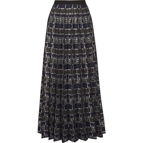 Marc Jacobs Pleated metallic jacquard maxi skirt (52.295 RUB) ❤ liked on Polyvore featuring skirts, navy, navy blue maxi skirt, floor length maxi skirt, metallic pleated maxi skirt, navy maxi skirts and metallic maxi skirt