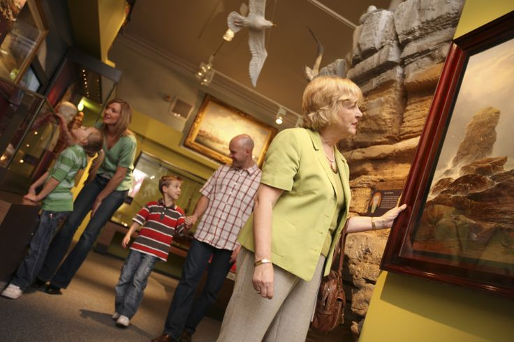 A family enjoying the exhibits at South Shields Museum & Art Gallery.