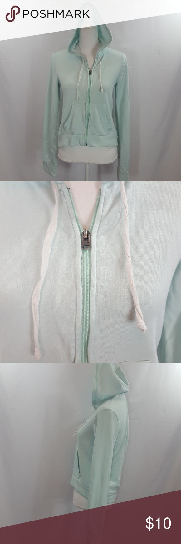 Hollister, light blue zip up hoodie USED, size Small, zip up hoodie. Hollister Tops Sweatshirts & Hoodies