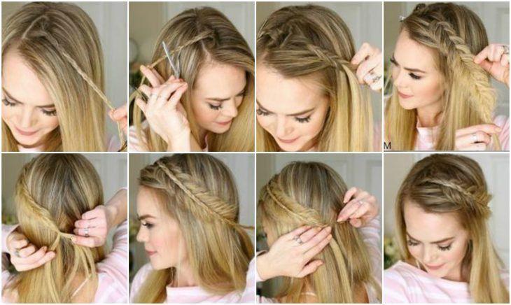 Chica Con Trenza De Espiga Lateral Peinados Peinados Sencillos Peinados Laterales