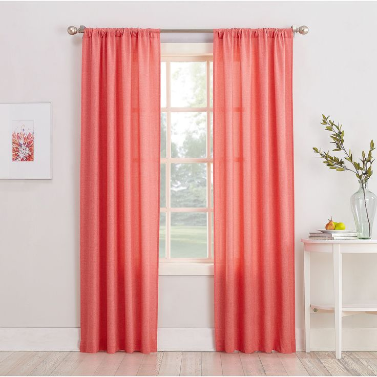 Captivating 918 Maddie Sheer Rod Pocket Curtain Panel (Coral 84 Inch), Red