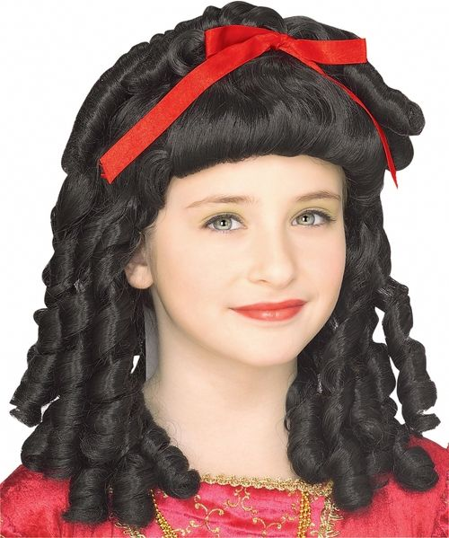 Storybook Fairytale Childs Wig - Transform your princess into a storybook princess with this beautiful black wig. It boasts a red ribbon and black hair with ringlets. One Size fits most children.  Help your child to look and feel like her favorite fairy tale character. This wig can be used in a Snow White costume, a non-specific princess costume or to allow her to become her own fairy tale creation.  #snowwhite #fairytale #yyc #costume #wig #kids