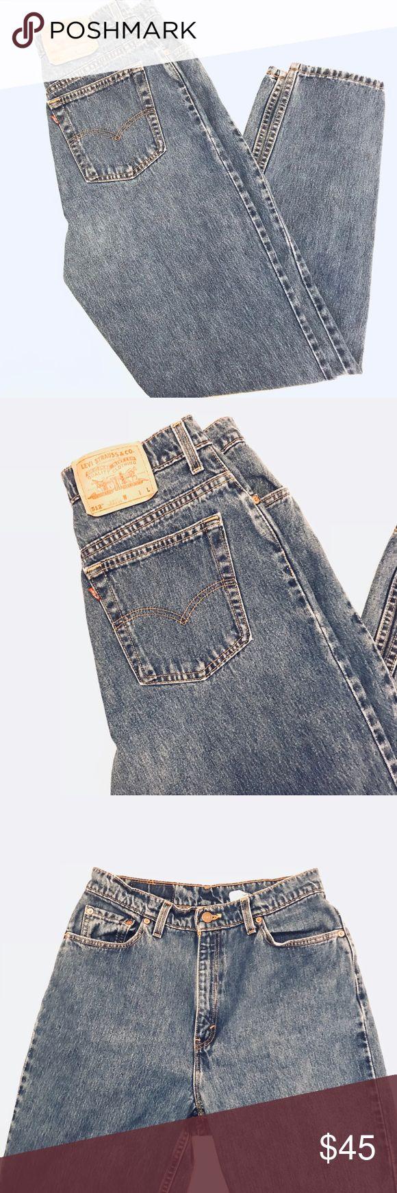 512 Vintage Levi Jeans High Waist Jeans Womens Levi 512 Vintage  High Waist Jeans Womens  Medium Distressed Denim  Slim Fit Taper Leg Levi  Size 14 L slim fit Levi's Jeans