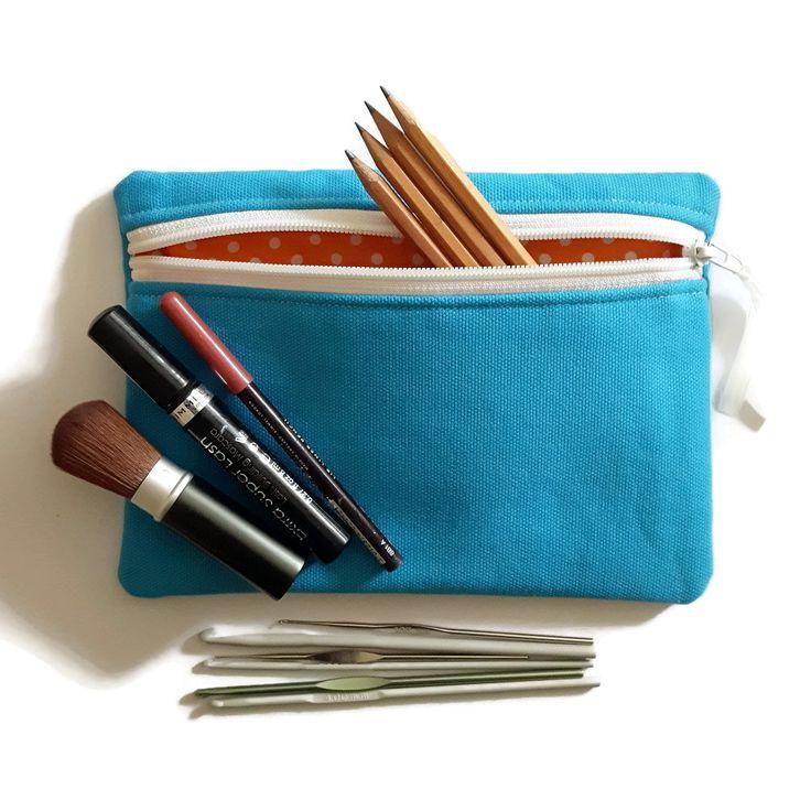 Turquoise canvas pencil case, cosmetic bag, crochet case