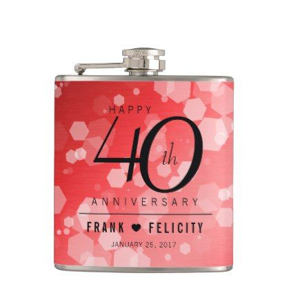 Elegant 40th Ruby Wedding Anniversary Celebration Hip Flask - anniversary cyo diy gift idea presents party celebration