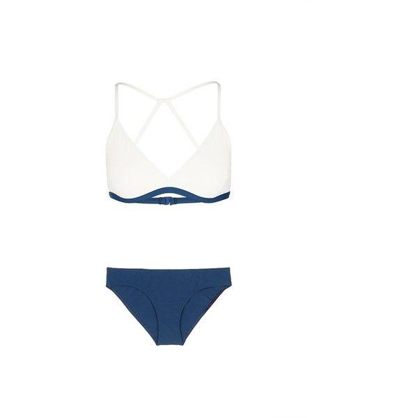 Flagpole Swim 'Casey' cutout back triangle bikini set (€340) ❤ liked on Polyvore featuring swimwear, bikinis, triangle swim wear, bikini swimwear, sporty swimwear, cut out bikini swimwear and bikini two piece