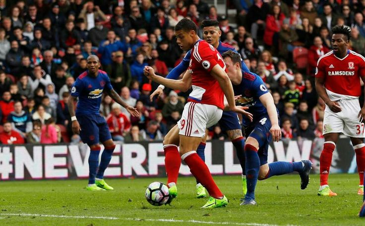 Middlesbrough 1 Man Utd 3 in March 2017 at the Riverside. Rudy Gestede got a goal back for Boro' on 77 minutes #Prem