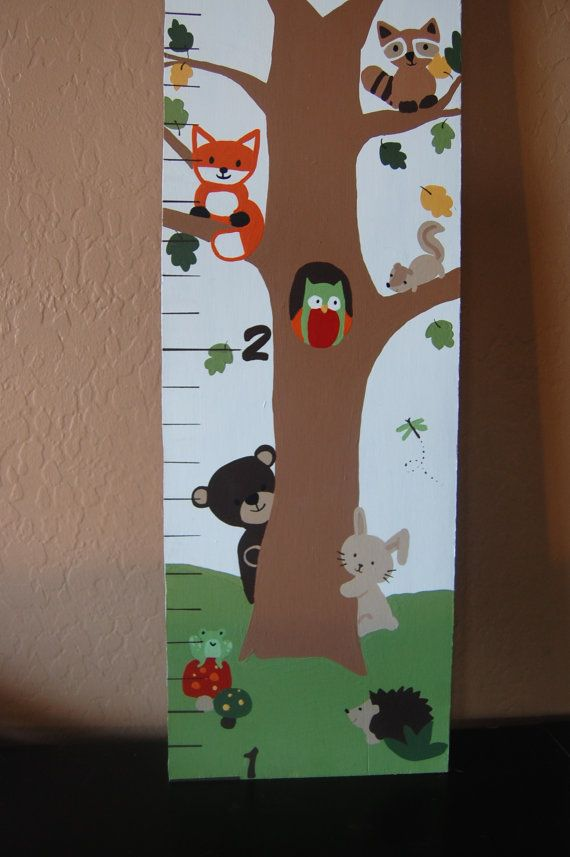 Echo woodland nursery wall decor, custom growth chart, fox, owl, bear, squirrel, hedgehog, forest, baby shower gift