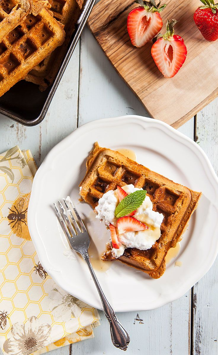Strawberry Protein Waffles with Whipped Coconut Cream
