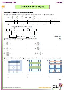 Mathematics : Grade 5: Math Test - Decimals & Length