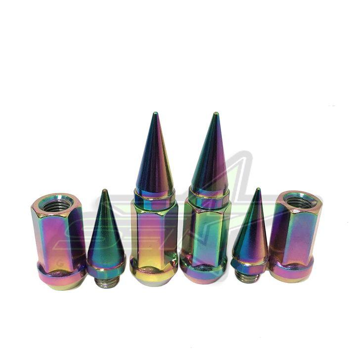 Set of 20 Twist Tip Chrome Solid Steel Spike Lug Nuts 14x1.5 Aftermarket Wheels