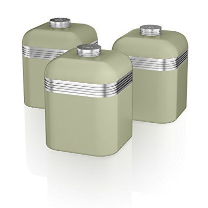 Blue Kitchen Canister Sets U003eu003e Swan Products Retro Canisters, Set Of 3, Blue
