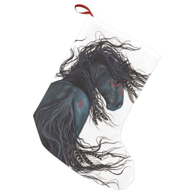 Black Christmas 2020 Majestic Christmas Stocking Majestic Friesin Horse Bihrle | Zazzle.in
