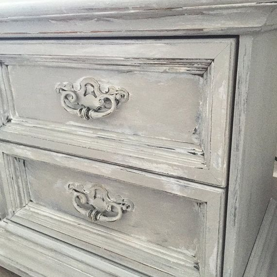 Gray End Table, Chalk Painted Two Drawer Bedroom Side Table, Rustic French Provincial - Hallstrom Home