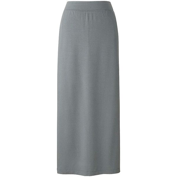 UNIQLO Long Tube Skirt (£15) ❤ liked on Polyvore featuring skirts, maxi tube skirt, rayon skirt, elastic waist maxi skirt, long rayon skirt and long elastic waist skirt