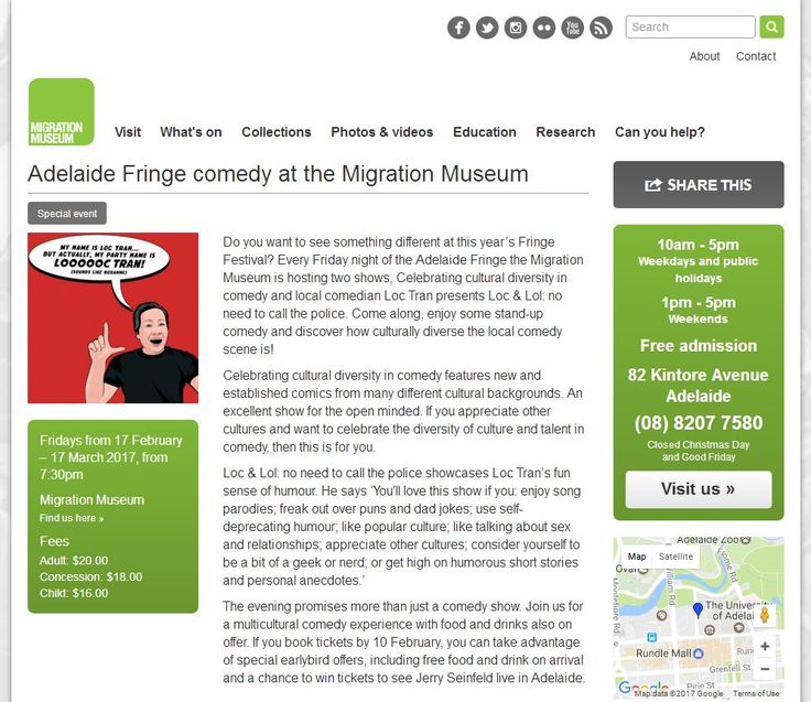 Thanks to the Migration Museum and History Trust of South Australia for featuring my Adelaide Fringe shows on their website!  http://migration.history.sa.gov.au/events/2017/adelaide-fringe-comedy-migration-museum  Special Early Bird Bonus Offer ends in two days (Friday the 10th of February 2017).  LOC & LOL www.loctran.com.au #adlfringe #migrationmuseum #loctran