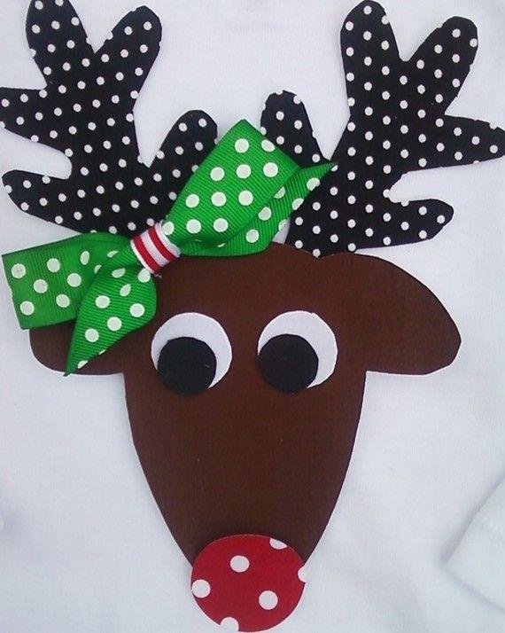 diy reindeer shirt   DIY Christmas Reindeer -- Female -- Fabric NO SEW Iron On Applique