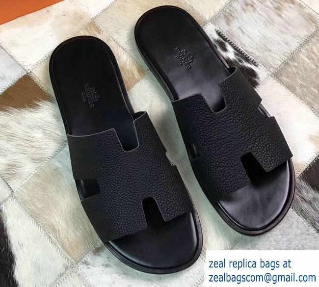 Hermes Izmir Men S Slipper Sandals In Togo Calfskin Black
