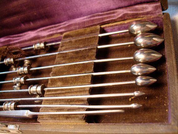 Antique 1800s Medical Set Silver Urethral Probes Scalpel