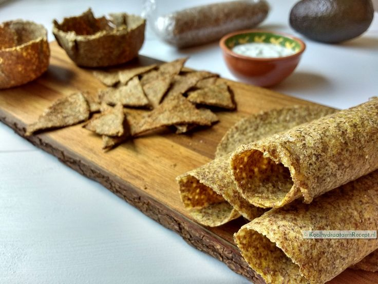 koolhydraatarme tortilla taco nachochips, plank met eindresultaat