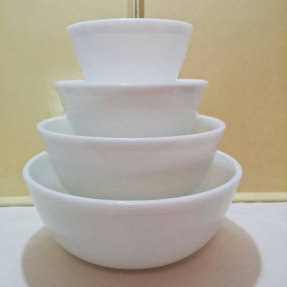 1950's Opal Pyrex Mixing bowl set by CutieMart on Etsy