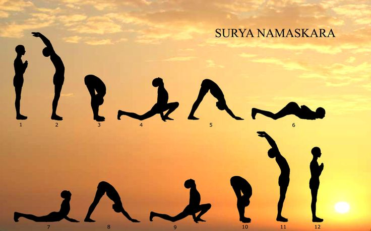 Surya Namaskar (sun salutation) I remember how we dreaded to do this in school. We tried to do it fast, to avoid the stretch. It looked like we were doing sit-roll-ups. Haha.