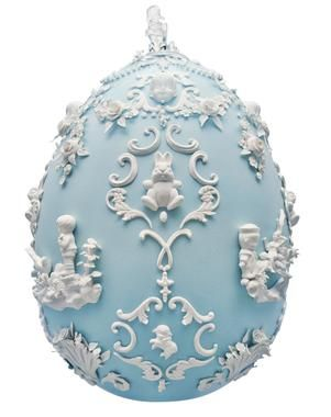 "Egg created by Beth Katleman for the 2014 Fabergé big-egg hunt. Made of ""over 600 handmade porcelain flowers, pearls, bunnies and cast flea-market treasures."" ""I've always loved the fancy sugar Easter eggs with little bunnies inside,"" Katleman said."