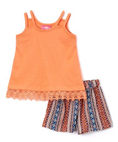 Peach Tank & Shorts - Toddler & Girls by Girls Luv Pink #zulily #zulilyfinds