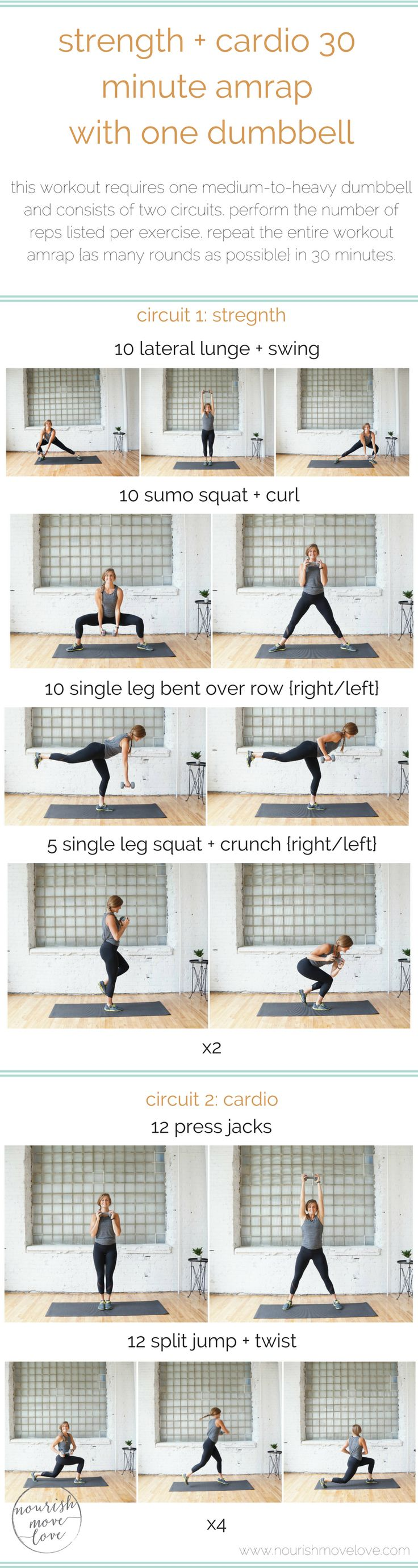 a heart-pumping, leg burning, 30 minute workout that combines strength and cardio movements. it's 6 exercise split into 2 total body workouts, and all you need is 1 dumbbell!
