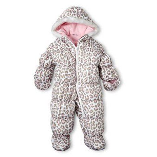 Carter's Baby Girls 2-Piece Heavyweight Printed Snowsuit with Ears, Leopard Light Pink, 18M This 2-piece heavyweight printed snowsuit with ears from Carter's will keep your little one cute, cozy and warm.