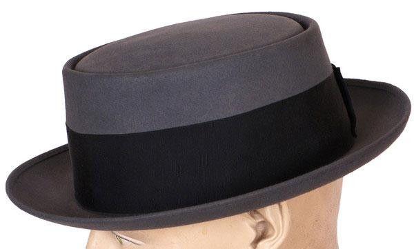 1940s Pork Pie Hat Vintage Flat Top Fedora Style Size 7 3/8 Large