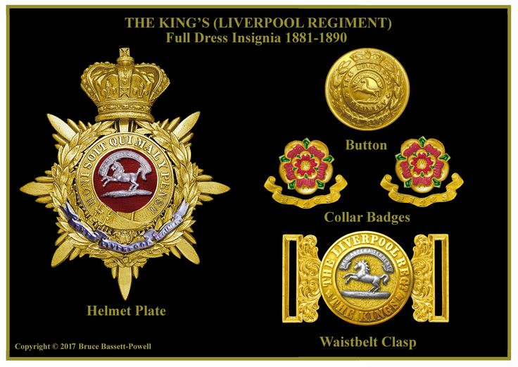 British; The King's(Liverpool Regiment). Full dress insignia, helmet plate, button, collar badges and belt buckle, 1881- 1901