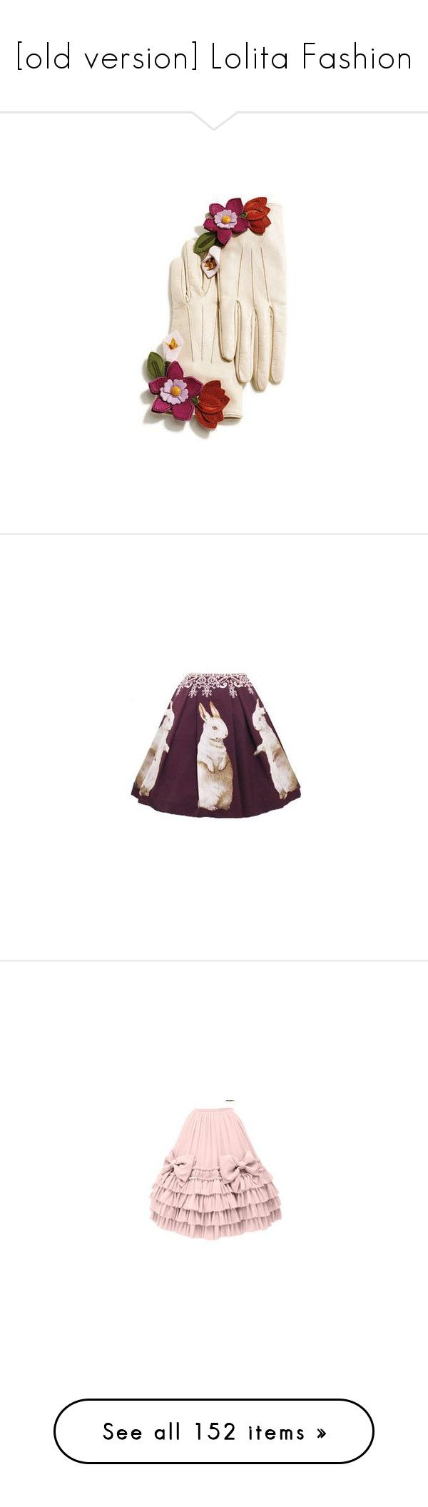 """""""[old version] Lolita Fashion"""" by mezzo-hauptperson ❤ liked on Polyvore featuring accessories, gloves, cream leather gloves, leather gloves, cream gloves, real leather gloves, coach gloves, skirts, pin skirt and purple skirt"""