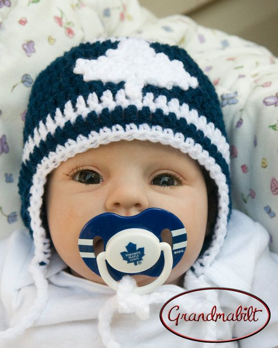 TORONTO MAPLE LEAFS Hockey Crocheted Hockey Helmet Hat & Logo Pacifier  in Team Colours Size Preemie/ Newborn/ 3 up to 6 Months