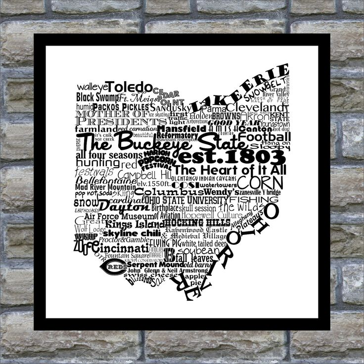 Ohio State Word Art Typography Print- 12x18 The Buckeye State Ohio State Pride. $22.00, via Etsy.