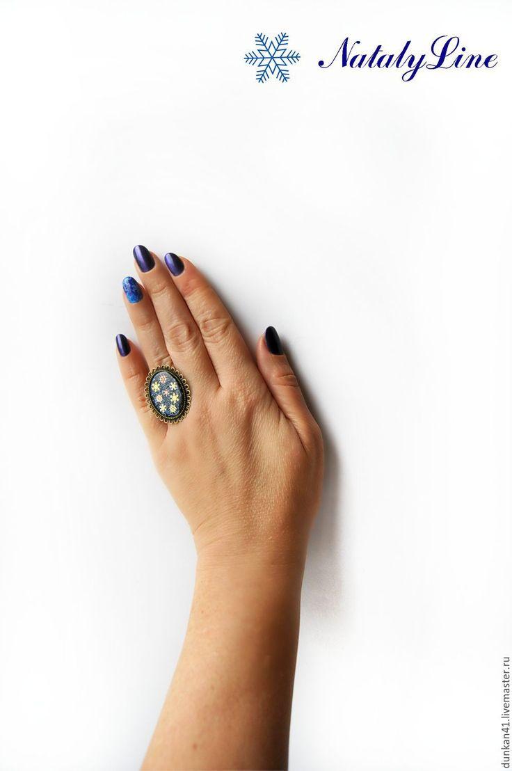 """Купить Кольцо """"Зимний вечер"""" Винтаж - тёмно-синий, кольцо, винтаж, винтажный…"""
