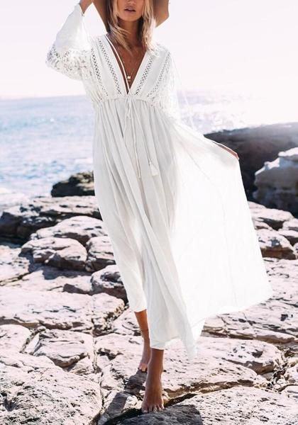 ff4f5661897 White Lace Drawstring Lace-up Flowy Tassel Deep V-neck Las Vegas Bohemian  Maxi Dress