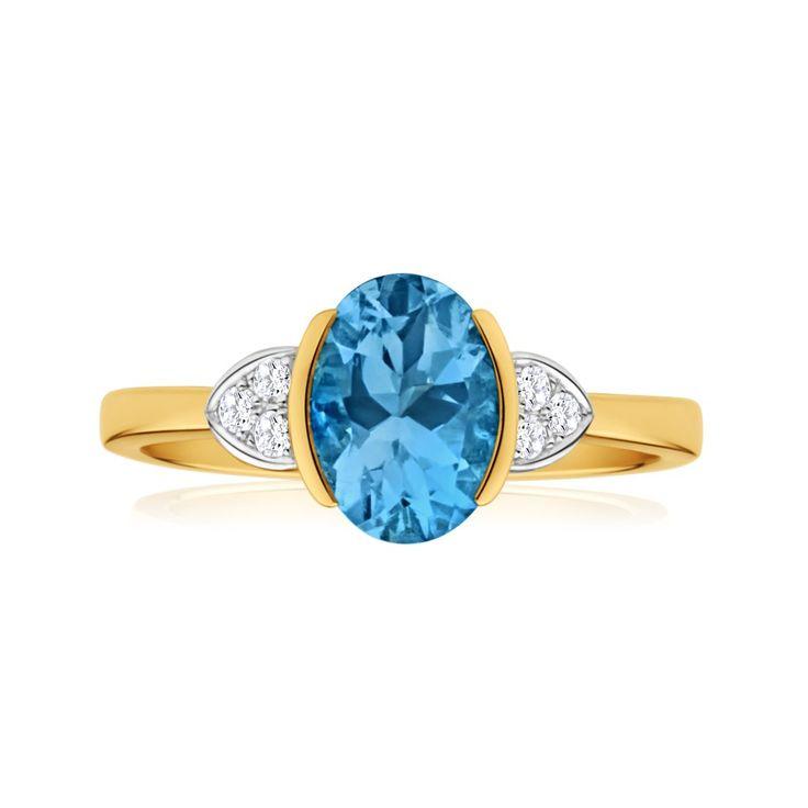 'Janai' Aquamarine and Diamond Ring in 9ct Yellow Gold