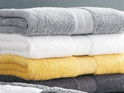 Quick bathroom makeover; Grey & Yellow towels