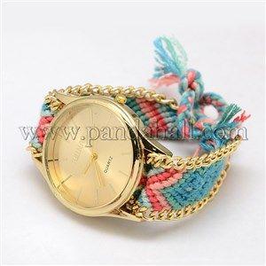 Fil de polyester tressé des bracelets montre à quartz en alliage d'or d'amitié de fille à la modeWACH-M076-02