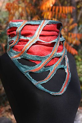 Unique handmade felted green and red Merino wool neck warmer