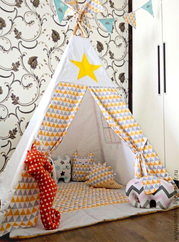 """Купить Вигвам """"Жёлто-серые треугольники"""" - хлопок 100%, домик, вигвам, детский домик"""
