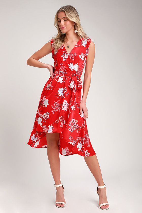 32aef89f4cff The Lulus Blossom Type of Way Red Floral Print High Low Dress is giving us  all the feels! Cute woven floral print dress with a sleeveless bodice and  wrap ...