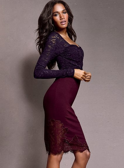 """Lace-trim Pencil Skirt - Victoria's Secret - Fall 2012 /   Sleek, body con ponte knit,  Asymmetric lace bottom,  Back zip,  24"""" Length,  Dry clean only,  Imported rayon/nylon,  $69.50 /   #294-956"""
