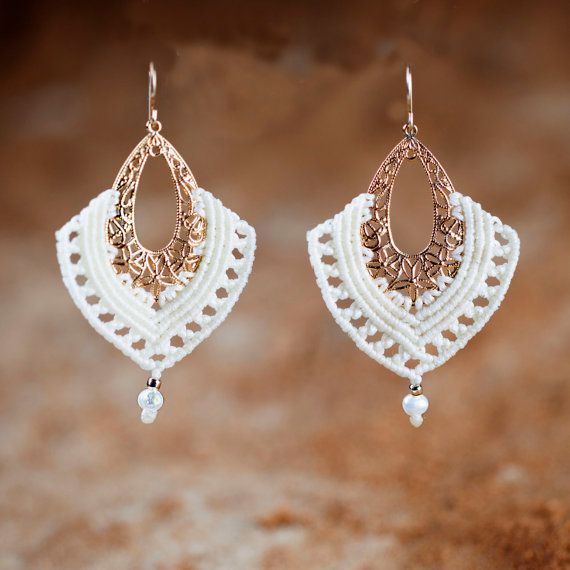 Pure White Macrame Earrings Egyptian Earrings  Oriental Bride